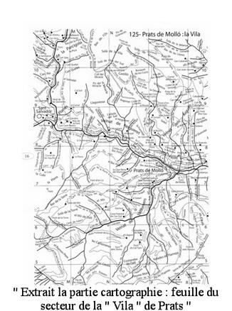 Atlas Catalogne Nord extrait la partie cartographie feuille du secteur de la Vila de Prats