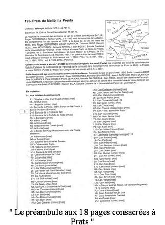 Atlas Catalogne Nord le préambule aux 18 pages consacrées à Prats