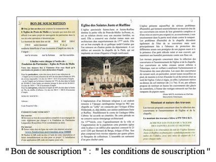 dépliant de la Fondation du Patrimoine vue p 2 Bon de souscription les conditions de souscription